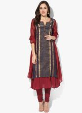 Biba Maroon Striped Poly Cotton Churidar, Kameez, Dupatta With Lining for Rs. 1980