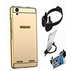 Aart Luxury Metal Bumper + Acrylic Mirror Back Cover Case For Lenovo A6000 Gold+ Flexible Portable Mount Cradle Thumb OK Designed Stand Holder for Rs. 399