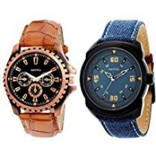 Matrix Analog Combo of 1 Black, 1 Blue Dial Men's Watch-PR-121-150 for Rs. 549
