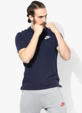 Flat 40% off on Nike As Nsw Pq Matchp Navy Blue Polo T-Shirt