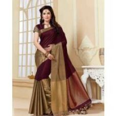 Flat 76% off on Indian Beauty Art Silk Self Design Saree With Blouse ( Colours Available)