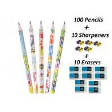 Buy FNC Pencils Pack ( Set of 100 Pencils 10 Sharpeners 10 Erasers) from ShopClues
