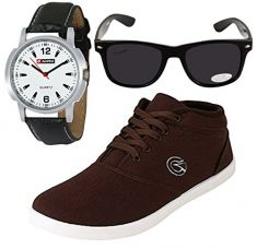 Buy Globalite Men`s Casual Shoe + Watch & Sunglasses Combo from Amazon