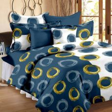 Buy Story@Home Cotton Printed Double Bedsheet  (1 Double Bedsheet With 2 Pillow Cover, Blue) from Flipkart