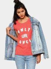 Buy abof Women Coral Red Printed Relaxed Fit T-shirt from Abof
