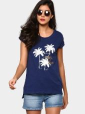 Buy abof Women Dark Blue Printed Relaxed Fit T-shirt from Abof