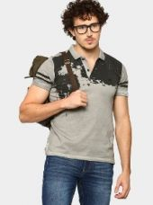 Abof Men Grey Printed CPD Slim Fit Polo T-shirt for Rs. 895