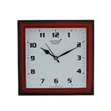 Buy Victor Plastic Analog Wall Clock (26 cm x 26 cm x 5 cm, Red, Polo-red) from Amazon