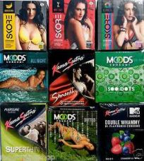 27 pcs Multi Company sampler COMBO shipping Concealed Condom KS Manforce Mooods for Rs. 168
