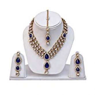Shining Diva Kundan Traditional Necklace Jewellery Set with Earrings for Women (Blue) (8408s) for Rs. 499