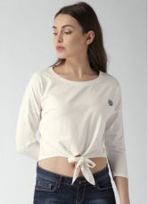 Get 40% off on Mast & Harbour Cream Solid T Shirt