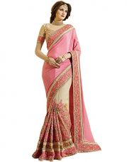 Buy Fab Fort Saree (Fabfs-269_Pink, Gold) from Amazon