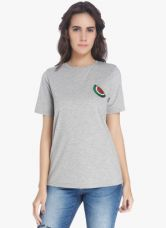 Buy Vero Moda Grey Embellished T Shirt for Rs. 750