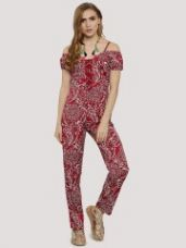 Buy KISSCOAST Cold Shoulder Jumpsuit With Front Tie Up from Koovs