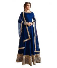 Flat 67% off on Active Blue Bangalore Silk Anarkali Gown Semi-Stitched Suit