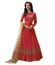 Buy Greenvilla Designs Peach Bangalore Silk Anarkali Semi Stitched Suit for Rs. 1,299