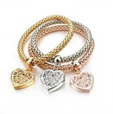 Buy Hot And Bold Gold Plated Multi Layer/Combo Dangling Charms Bracelet For Women & Girls. Daily/Party Wear Fashion Jewellery. (Valentine Heart) from Amazon