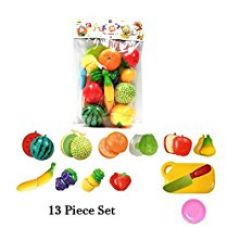 Buy Happy GiftMart Realistic Sliceable 13 Pcs Fruits Cutting Play Toy Chopping Cutter Set With Velcro from Amazon