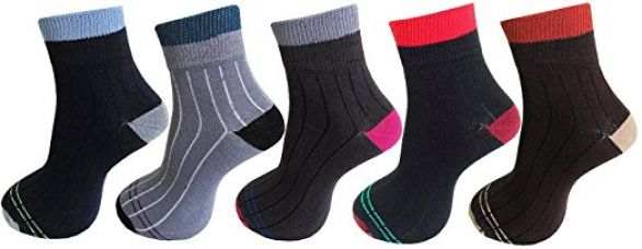 Zacharias Men's Ribbed Design Ankle Length Cotton Socks 5 Pair for Rs. 199