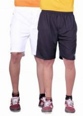 Flat 67% off on Buy 1 Get 1 Free Gag Wear Polyester Solid Mens Shorts(white-black)