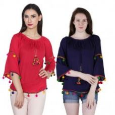 Flat 60% off on Ollify Women's Rayon Red And Blue Top (tiptopredblue)