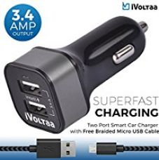 Buy iVoltaa 3.4A Dual Port Rapid Car Charger with Free Braided Charging Cable (Micro USB) for all types of Mobiles,Tablets,GPS from Amazon