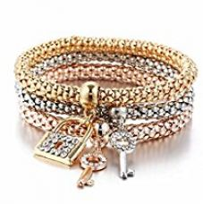 Buy Hot And Bold Multi Layer Lock & Key Charm Bracelet For Women & Girls. Daily Wear Fashion Jewellery from Amazon