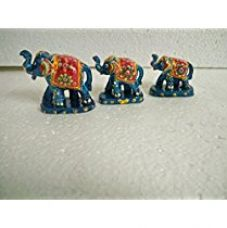 Buy Jaipuri Haat Handicrafted Set of 3 Showpiece Elephant for Decoration and Gift Purpose (9X6Cm,7 X 5Cm,6 X 4 cm) from Amazon