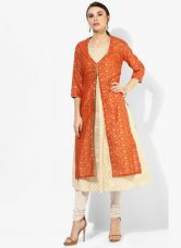 Get 40% off on Biba Orange Printed Poly Cotton Kurta With Lining