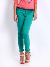 Flat 40% off on Being Human Clothing Women Green Skinny Fit Trousers
