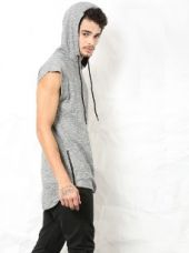 SKULT Men Grey & White Melange Slim Fit Midline Hoodie Tee for Rs. 1,199