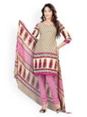 Flat 76% off on Florence Cream-Coloured & Pink Crepe Unstitched Dress Material