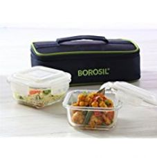 Borosil Glass Tiffin Set, 320ml, Set of 2, Clear for Rs. 651
