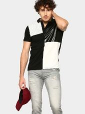 Abof Men Black & White Slim Fit Polo T-shirt for Rs. 895