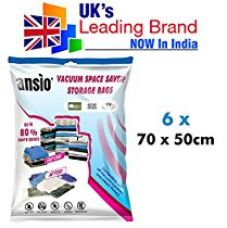 Vacuum Compressed Space Saver Storage Bags Set of 6 Small 50 x 70cm. Extra Strong Double-Zip Seal and Triple Seal Turbo Valve for Ultra Compression | Ideal for Clothes, Pillows, Curtains and Travelling. 365 DAY 100% MONEY BACK GUARANTEE (Pump NOT Included) for Rs. 549
