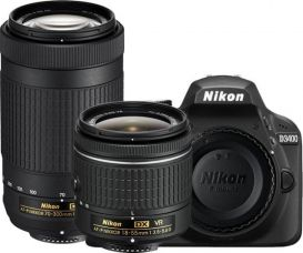 Buy Nikon D3400 DSLR Camera with Lens AF-P DX NIKKOR 18 - 55 mm f/3.5 - 5.6G VR & AF-P DX NIKKOR 70 - 300 mm f/4.5 - 6.3G ED VR  (Black) from Flipkart