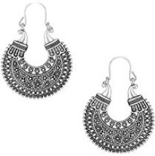Zeneme Indian Oxidised Silver Plated Stud Hoop Bali Earring Jewellery For Women/Girls for Rs. 209