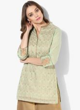 Biba Green Printed Poly Cotton Kurti for Rs. 720