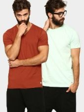 Abof Men Rust Red & Mint Green Pack of 2 Slim Fit T-shirts for Rs. 695