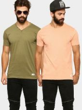 Abof Men Peach-colored & Olive Green Pack of 2 Slim Fit T-shirts for Rs. 695