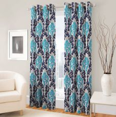 Buy Fabaron Polyester Blue Printed Curtain Window Curtain  (214 cm in Height, Single Curtain) for Rs. 99