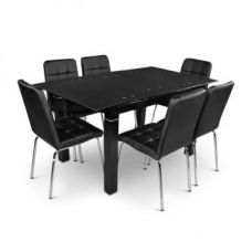 Get 67% off on Alexis Glass Top Extension Six Seater Dining Set Black