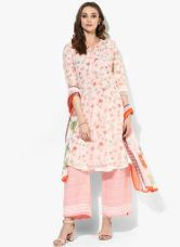 Flat 40% off on Biba Pink Embroidered Polyester Cotton Palazzo Kameez Dupatta With Lining