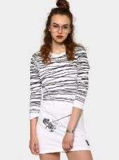 Buy Kultprit Women White & Black Printed T-shirt Dress from Abof