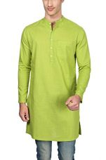 Peter England Men's Knee Long Cotton Kurta (8907306879854_PO51581304_92_Green) for Rs. 519