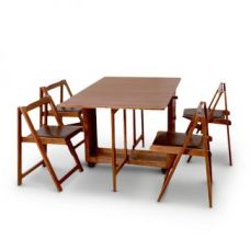Buy Compact Folding Four Seater Dining Set Walnut for Rs. 21,900