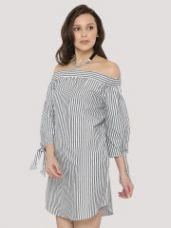 Flat 35% off on KOOVS Tie Sleeve Cold Shoulder Swing Dress