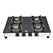 BlackPearl Glass 4 Burner Manual Gas Stove, Black for Rs. 7,198