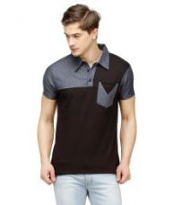 Flat 45% off on Campus Sutra Black Polo T Shirts