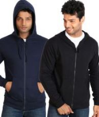 Get 40% off on Campus Sutra Navy Black Full Cotton Blend Hooded Sweatshirt